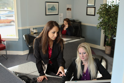 Lauryn at Kelly's desk